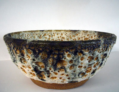 Stoneware bowl with volcanic glaze