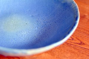 Crackle glaze on a handbuilt stoneware plate.