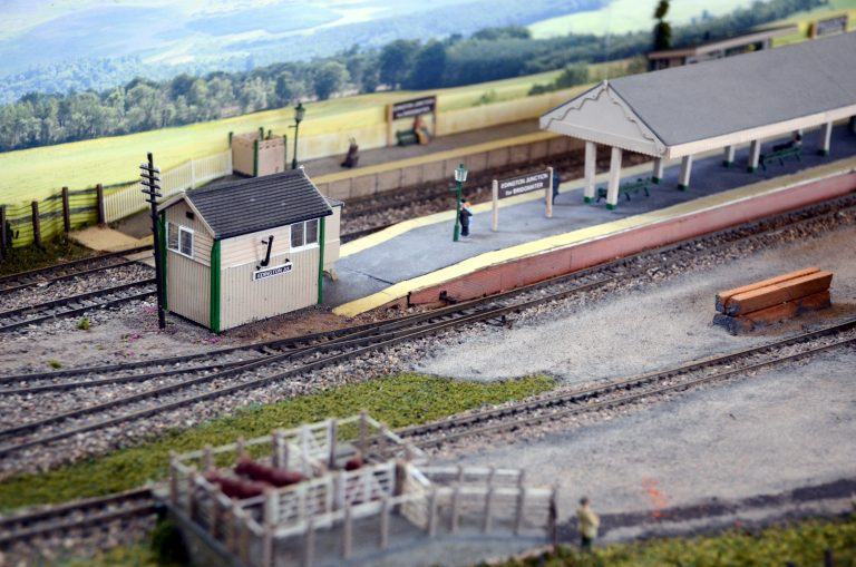 2019 Calendar – March. The old railway lines may have gone but the loss of them still wrankles. This model is from a station on the Somerset and Dorset line.