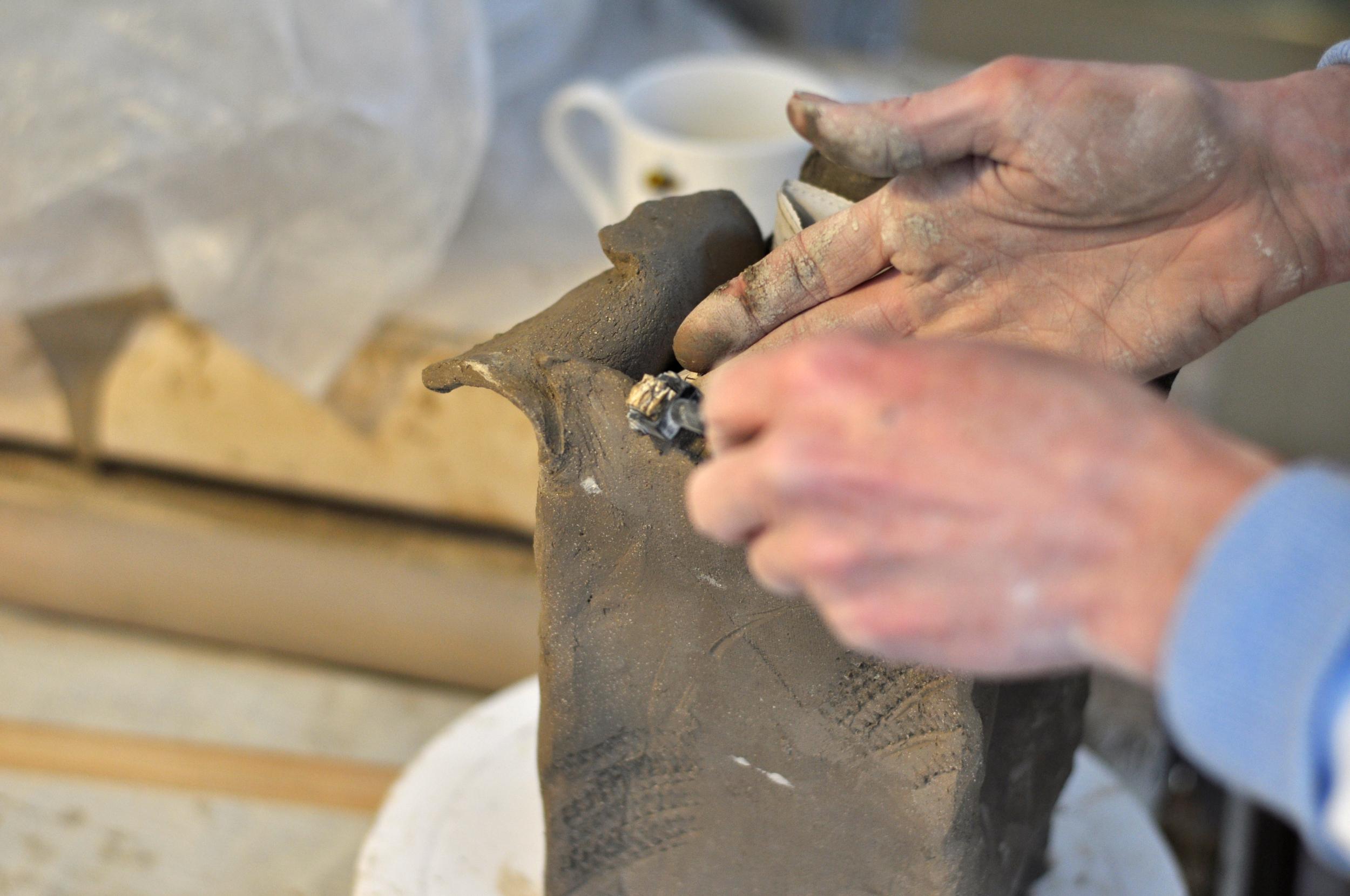 Hand building with raku clay